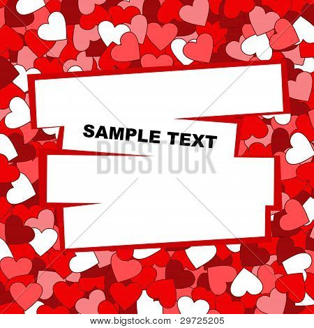 Vector red background with hearts.