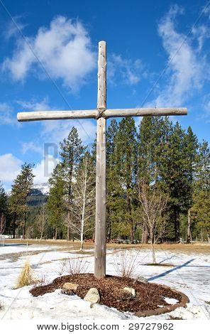 Vivid Image Of A Cross Outside.