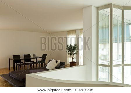 Bright duplex, wide room with large window