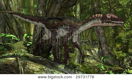 utahraptor in jungle