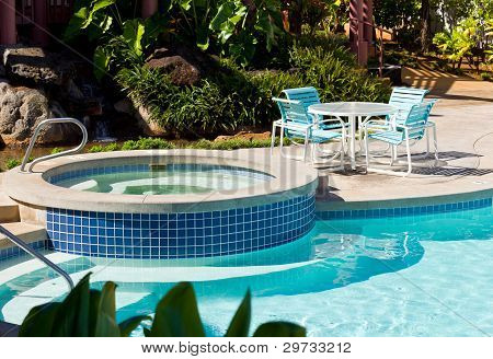 Pool And Hot Tub With Table