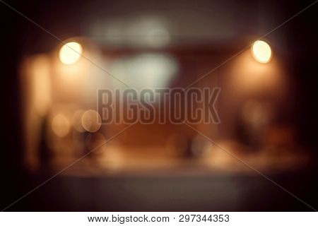 poster of Blur Image Of Modern Kitchen Room Interior. Kitchen Room.