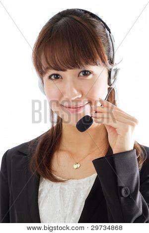 Beautiful female customer service operator