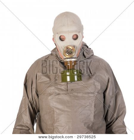 Man dressed in protection suit and gas mask