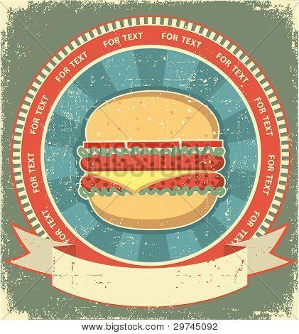Hamburger Label Set On Old Paper Texture.vintage Background