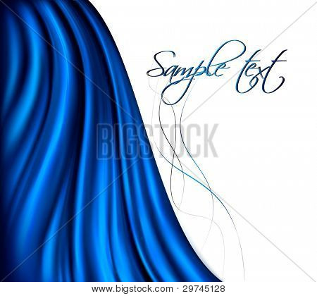 Brightly lit blue curtain background. Vector illustration.