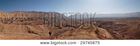 Scenic desert landscape in the Small Crater (Makhtesh Katan) in Israel