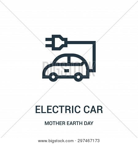 poster of Electric Car Icon Isolated On White Background From Mother Earth Day Collection. Electric Car Icon T
