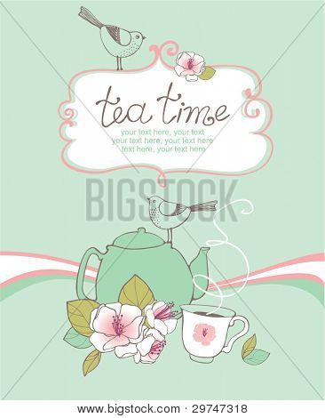 card with teapot, cup, birds and cherry blossoms