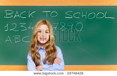 kid student girl on green school blackboard with written back to school text [Photo Illustration]