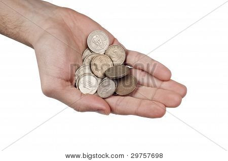 Turkish coins in the palm