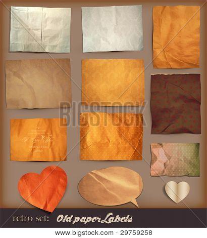 conjunto de Scrapbooking. texturas de papel viejo: entre diferentes elementos de papel para tus diseños