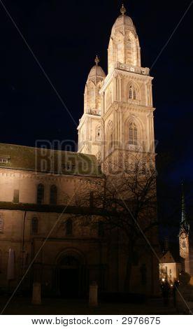 Grossmuenster Cathedral In Zurich Night