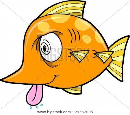 Crazy Insane Fish Vector Illustration Art
