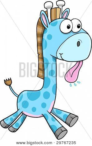 Goofy Silly Blue Giraffe Animal Safari Wildlife Vector Illustration Art