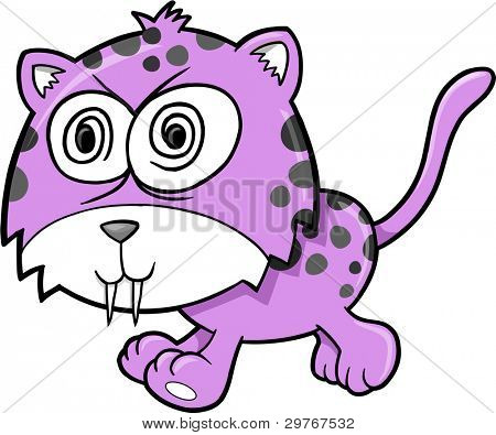 Crazy Insane Leopard Animal Vector Illustration Art