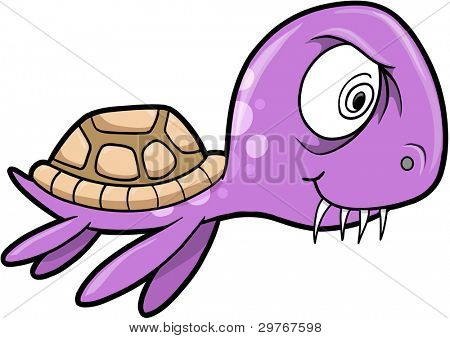 Crazy Insane Summer Sea Turtle Animal Vector Illustration