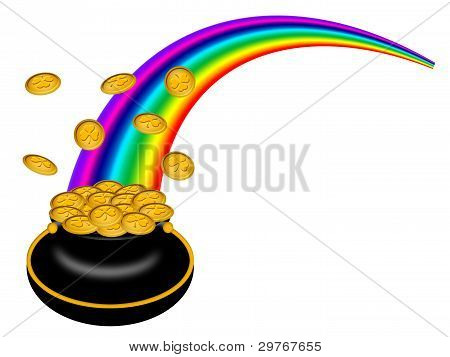 Saint Patricks Day Pot Of Gold With Rainbow