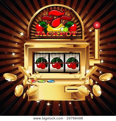 A slot fruit machine with cherry winning on cherries. Gold coins fly out at the viewer.