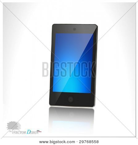 A modern smart phone for mobile communication with blue screen. Vector illustration.