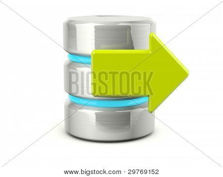 Metallic exit data base icon