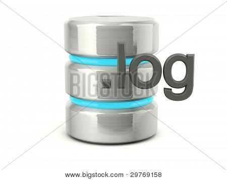Metallic log data base icon