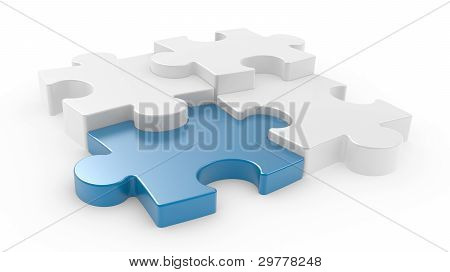 Four Puzzle Pieces Interconnected With Each Other