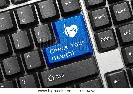 Conceptual Keyboard - Check Your Health (blue Key With Heart Symbol)