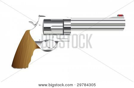 Old fashioned metal handgun with wood handle