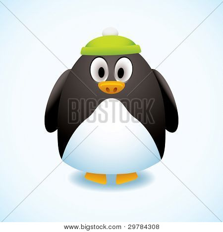 Cute cartoon penguin with green bobble hat and snow background