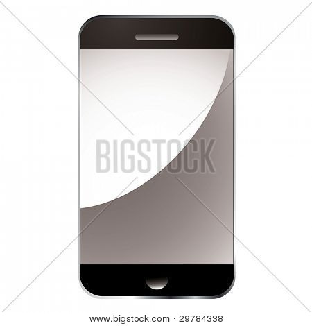 Modern smart phone with blank light relection screen