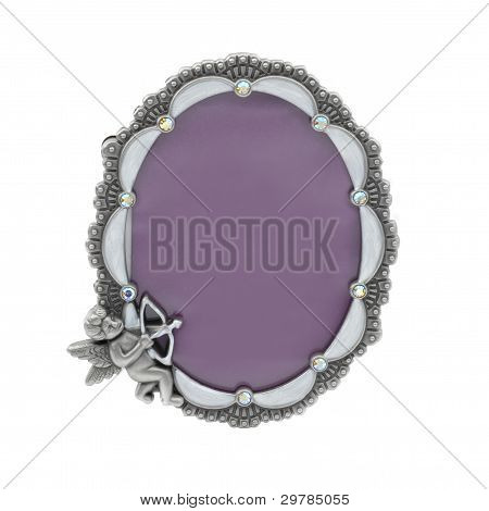 Vintage Table Photo Frame Isolated On White