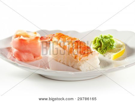 Japanese Cuisine -  Shrimp Nigiri Sushi (ebi) with Ginger and Wasabi