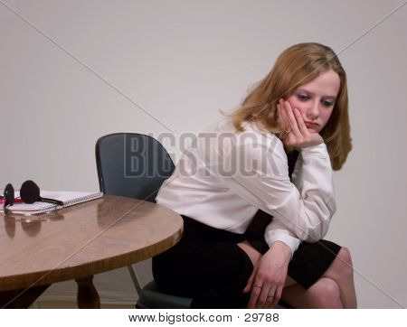 Young Professional Working Woman Looking Bored