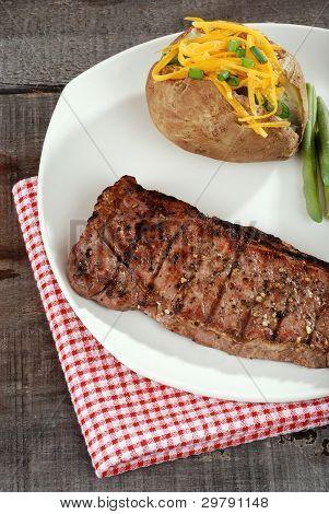top view strip loin steak
