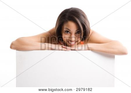 A Woman With Empty Billboard