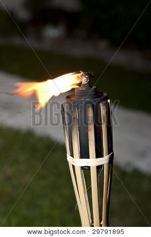 Tiki Torches Burning
