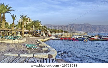 View on northern beach of the Red Sea in Eilat
