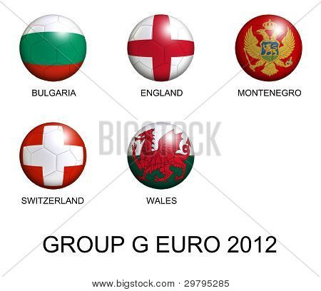 Soccer Balls With European Flags Of Group G Euro 2012 Over White