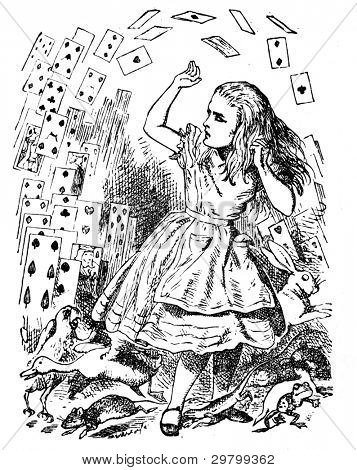 Alice and a deck of cards. Engraving by John Tenniel (United Kingdom, 1872). Illustration from book