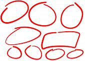 Circle Hand Drawn Isolated On White Background. Collection Of Different Hand Drawn Red Circles. For  poster