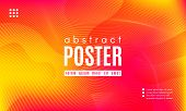 Abstract Geometric Background. Fluid Shapes Composition. Wave Liquid With Distorted Lines. Striped G poster