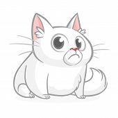 Funny Fat Cat Cartoon. Vector Illustration Grumpy Cat poster