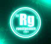 Roentgenium Chemical Element. Sign With Atomic Number And Atomic Weight. Chemical Element Of Periodi poster