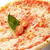 Постер, плакат: Пицца Маргарита с помидорами сыром Гауда и моцарелла