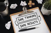 Same Thinking And Same Results, Negative Feedback Mindset Concept. poster