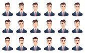 Man Emotions. Facial Characters Different Faces Sadness Hate Smile Head Portrait Vector Characters.  poster
