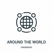 Around The World Icon Isolated On White Background From Friendship Collection. Around The World Icon poster