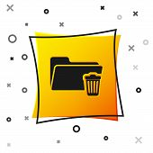 Black Delete Folder Icon Isolated On White Background. Folder With Recycle Bin. Delete Or Error Fold poster