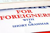 picture of grammar  - language educational book details text for foreigners with a short grammar - JPG